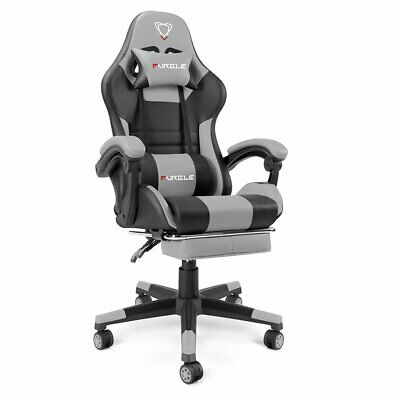 AU149.99 • Buy FURGLE Gaming Chair Office Executive Racing Footrest Seat PU Leather Black &Grey