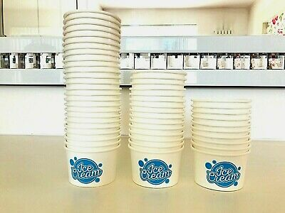 50x 4oz Ice Cream Tubs With Spoons Paper Cups Container Dessert Tub Sweet Treats • 12.50£