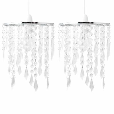 Set Of 2 Clear Acrylic Crystal Jewelled Easy Fit Ceiling Light Shade Pendants • 16.99£
