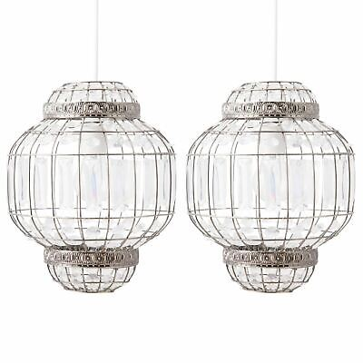 Set Of 2 Morrocan Style Easy Fit Light Shade Pendants Antique Brass Finish • 37.99£