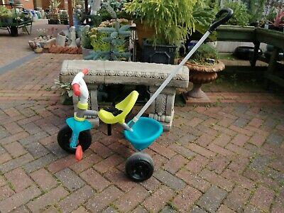 Smoby Blue 2-in-1 Push Along Trike With Parent Handle And Kids First Tricycle - • 22£