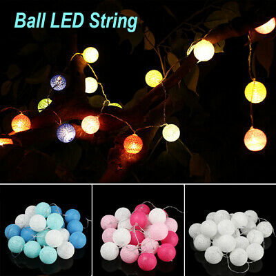 20 LED Globe Garland Cotton Ball String Fairy Lights Christmas Decorate UK • 7.57£