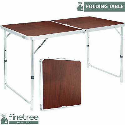 4ft Heavy Duty Folding Table Portable Wooden Camping Garden Party Catering New • 21.99£