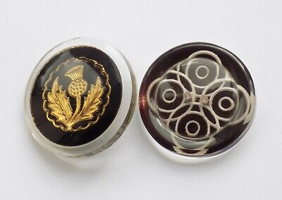 £9.99 • Buy 2 Vintage Acrylic Buttons. Gold Scottish Thistle & White Concentric Circles.