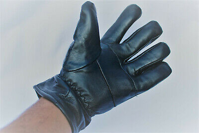Black Unisex Sheep Leather Gloves Thermal Lined Black Outdoor Winter Protection • 8.99£
