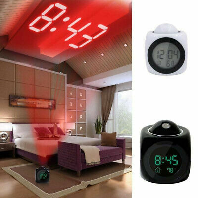 Alarm Clock Time Temperature Projector LED Digital Projection LCD Voice Talking • 4.89£