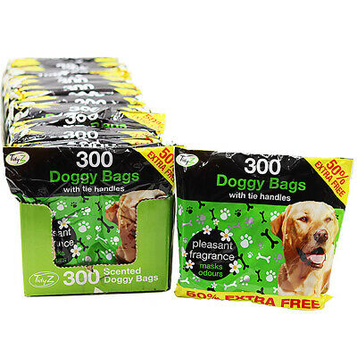 300 Disposable Doggy Bags Scented Dog Poo Waste Tie Handles Dog Cat Poo Waste • 2.99£