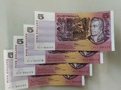 AU89 • Buy Run 4 Consecutive 1985 Fraser Johnston $5 Banknote AUncirculated Mint
