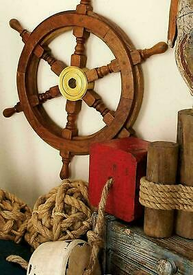 Antique Wooden Ship Wheel 18  Inch Vintage Maritime Ships Pirate Wall Decor Home • 24.90£