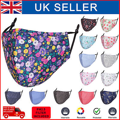 £1.99 • Buy Face Mask Covering Cotton PM 2.5 Filter Reusable Washable Floral Polka Print UK