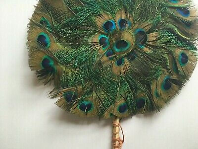 Antique Peacock Feather (Real) Hand Fan - Round Double Sided - Vintage 1920s • 60£