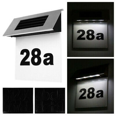 LED Solar Powered Address Sign Routed Back Lighted Sign House Number Plaque Top • 9.07£