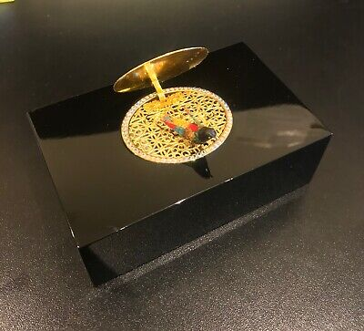Reuge Music Very Rare, Black Lacquer White Stones Mechanical Singing Bird Box • 2,950£