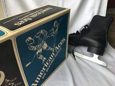$25 • Buy American Aces Mens Figure Ice Skating Black Size 9 Hardened And Tempered Blades