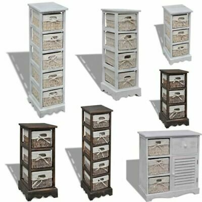 Shabby Chic Wicker Drawers Basket Storage Sideboard Wooden Bedside Cabinet Table • 100.82£
