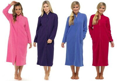Lady Olga Zip Front Fleece Long Traditional Dressing Gown Robe Front Pockets • 22.99£