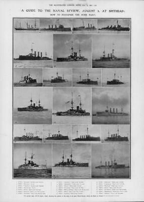 1907 Antique Print - HAMPSHIRE PORTSMOUTH Spithead Royal Navy Fleet Review (260) • 19.25£