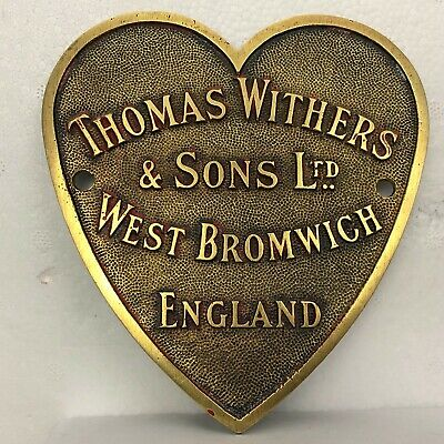 Large Antique Thomas Withers & Sons Safe Plate  West Bromwich  Heart Shaped  • 130£