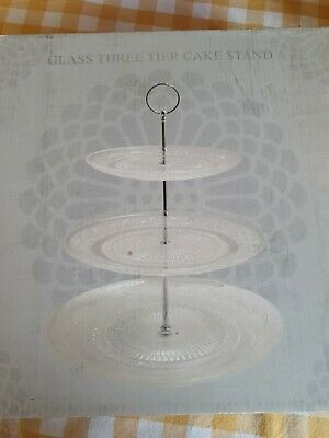 Leonardo Glass & Metal Contemporary 3 Tier Cake Stand Brand New In Box  • 10£