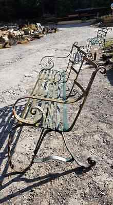 Antique Victorian Wrought Iron Strap Bench  • 750£