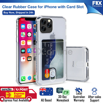 AU8.68 • Buy Clear Card Holder Soft Rubber TPU Case Cover IPhone 6s 7 8 Plus XS 11 12 Pro Max