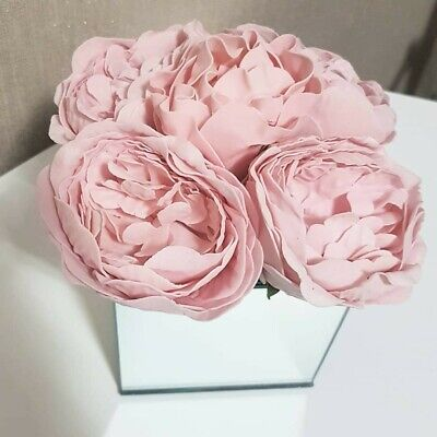 Artificial Blush Pink Peony Flowers Arrangement In Mirrored Cube Glass Vase  • 19.99£