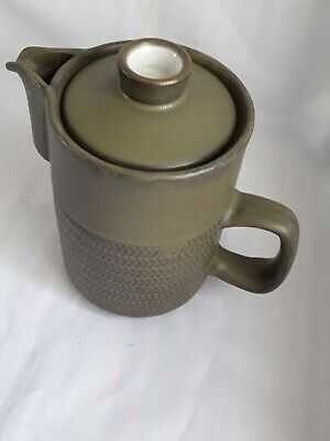 Denby Chevron Green Coffee Pot With Lid - 8 Bands - 15cm - Excellent- FREEUKPOST • 17.25£