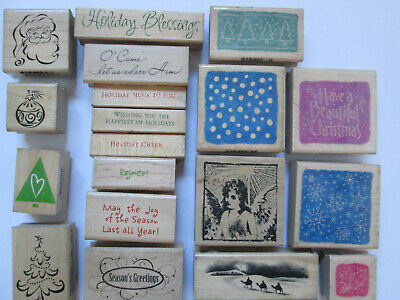 £1 • Buy Hero Arts Assorted CHRISTMAS Text / Designs Wooden Rubber Stamps Card Making