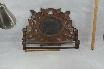 Antique Towel Bar Mirror Carved Walnut Kitchen Bathroom Original 1890 • 72.72£