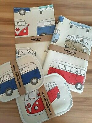 Washing Up Gift Set. VW Campervan Fabric...Tea Towel/dish Cloth/scubbie... • 6.95£