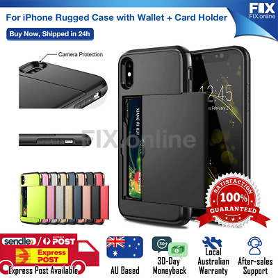 AU7.98 • Buy For IPhone XS Max XR X 8 Plus Case Slide Armor Wallet Credit Card Holder Cover