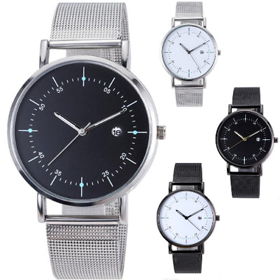 AU12.95 • Buy MESH Quartz Wrist WATCH Business Casual Dress Mens Womens Gift Black Silver AUS
