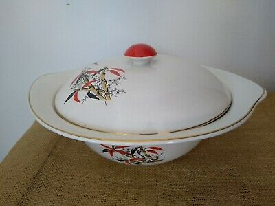 """Vintage Barratts """"Delphatic China"""" Red Bamboo Pattern Lidded Serving Tureen • 15£"""