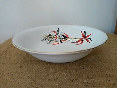 """Vintage Barratts """"Delphatic China"""" Red Bamboo Pattern Serving Dish Bowl • 10£"""