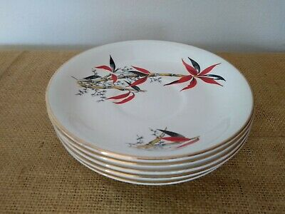 """Vintage Retro Barratts """"Delphatic China"""" Red Bamboo 5 Saucers Reg #B755897 • 10£"""