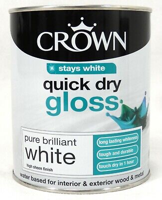 New Pure Brilliant White Crown Quick Dry Gloss 750 Ml Interior Wood And Metal UK • 12.99£