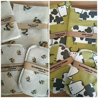 Washing Up Gift Set...Tea Towel/dish Cloth/scubbies • 6.75£