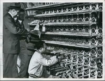 $ CDN24.25 • Buy 1956 Press Photo GR Sletner Fixing Wiring For Telephones With Barney Pierson