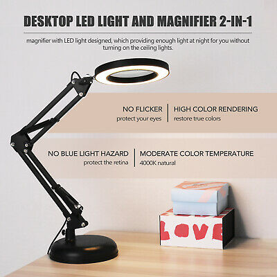 USB Desk Magnifier Lamp 5X Magnifying Glass LED Light Foldable Reading Lamp • 14.55£