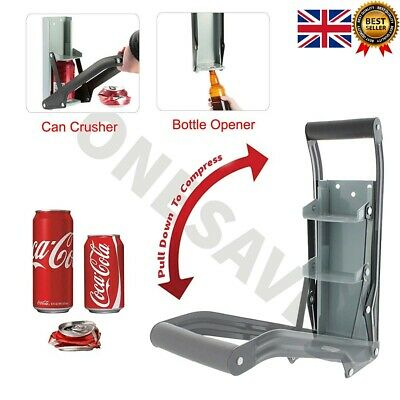 £10.99 • Buy 16oz 500ML Large Tin Beer CAN CRUSHER WALL MOUNTED Bottle Opener Recycling Tool