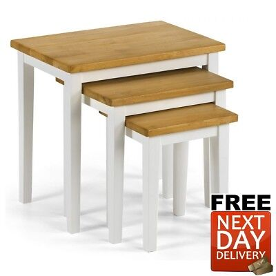 Julian Bowen Cleo Oak White Nest Of Tables Solid Rubberwood - NEXT DAY Delivery • 55£