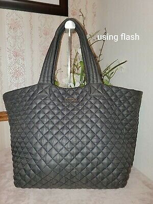 AU222.78 • Buy MZ Wallace Large Quilted Nylon Metro Tote Bag Gray