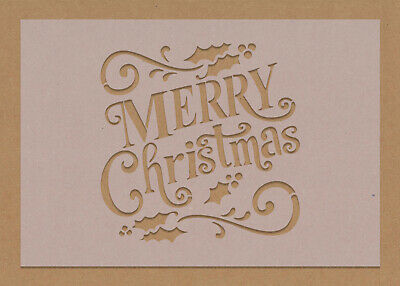 £2.99 • Buy Merry Christmas Stencil Text Decorations Festive Craft Card Making