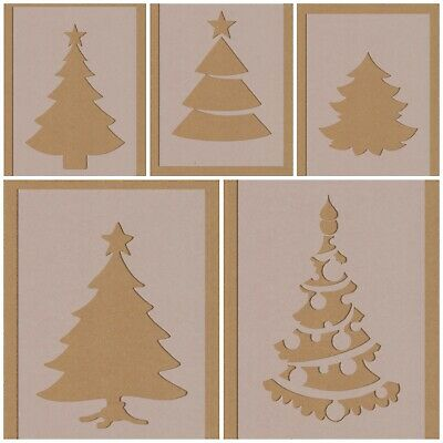 £2.99 • Buy Mixed Design Christmas Tree Stencils Festive Decorations Card Making Cake Topper