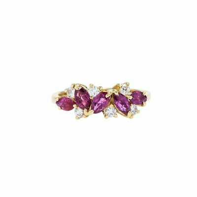 2.5ct Marquise Cut Pink Ruby Engagement Ring Floral Cluster 14k Yellow Gold Over • 89.99£