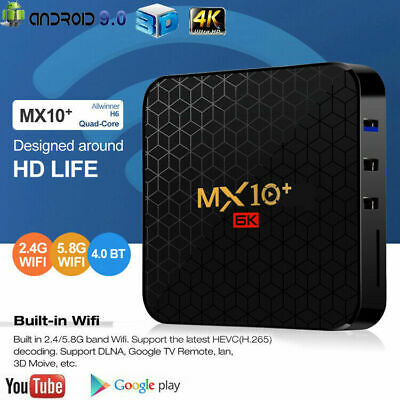 AU75.99 • Buy MX10 PRO Android 9.0 TV Box 4GB 64GB Quad Core 6K 2.4G WiFi USB 3D Media Player
