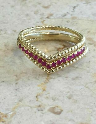 2ct Round Cut Ruby Engagement Ring Curved Chevron Trio Set 14k Yellow Gold Over • 149.99£