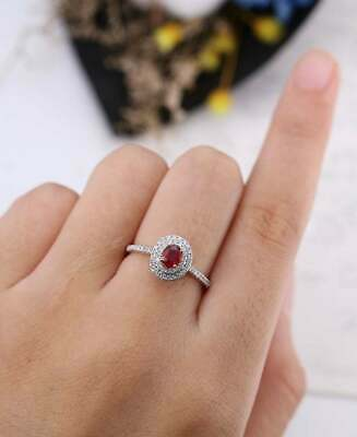 3.2ct Oval Cut Pink Ruby Engagement Ring Diamond Dual Halo 14k White Gold Over • 79.99£