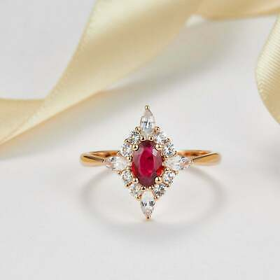 2ct Oval Cut Pink Ruby Engagement Ring Cluster Diamond Halo 14k Rose Gold Over • 79.99£