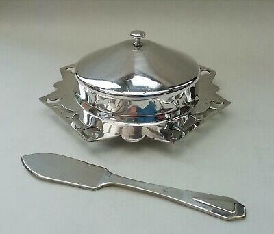 Silver Plated EPNS Vintage Lidded Butter Dish With Milk Glass Liner & Knife • 11.99£
